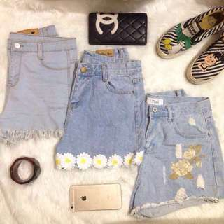 HW Floral Denim Shorts