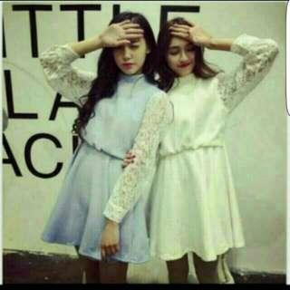 [BRAND NEW] WHITE LACE-SLEEVE KOREAN DRESS