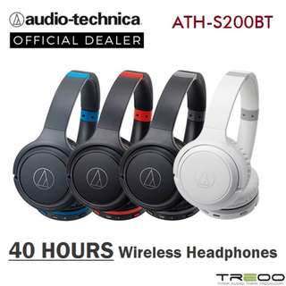 Audio-Technica ATH-S200BT Wireless Bluetooth On-Ear Headphone with Microphone