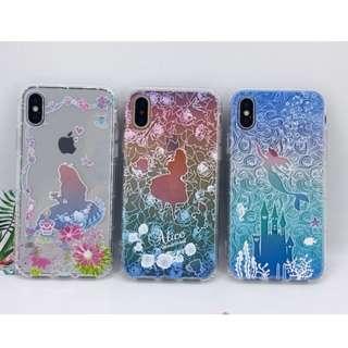 手機殼IPhone6//8/plus/X : 漸變色童話愛麗絲美人魚公主