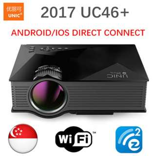 [UC46+ Projector]2017 Newest UNIC UC46+ plus Wireless WIFI Portable Home Projector
