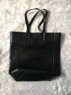 Our Tribe black leather open tote