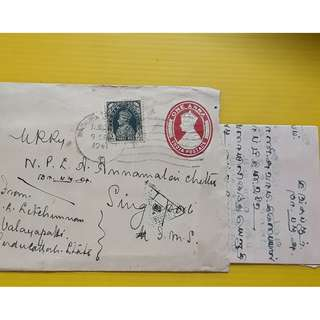 CENSOR POSTAL COVER from INDIA to SINGAPORE - BRITISH INDIA KING GEORGE VI  - UPRATED EMBOSSED 1941 + CONTENT IN  TAMIL