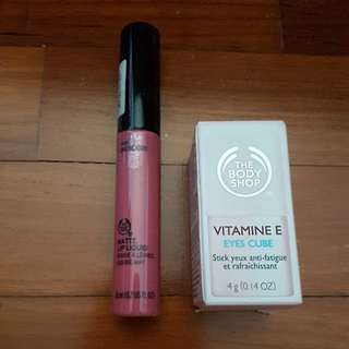 BN Bodyshop Body Shop Matte Lip Liquid and Vitamin E Eye Cube