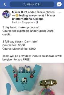 3 day basic make up course