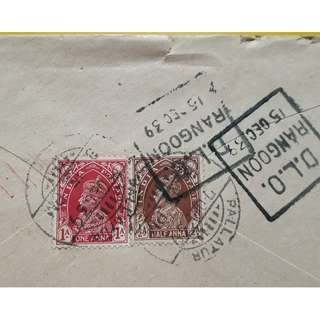 CENSOR POSTAL COVER from INDIA to THONZE , BURMA - BRITISH KING GEORGE VI  - 1939