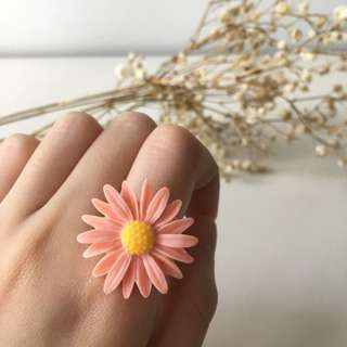 Pink Gerbera Flower Ring with Adjustable Ring Base