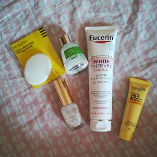 Cosmoderm bb cream, eucerin white therapy clinical, aster beaute purism, innerskin blemish clearing serum, sephora exfoliating face disc