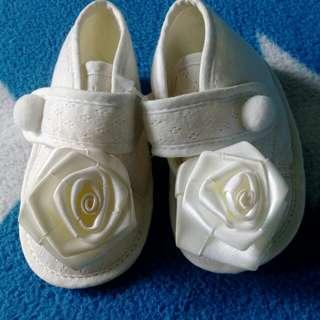 純真白玫瑰花止滑學步鞋,11號11公分