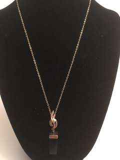 Vintage gold plated black Onyx pendant with chain