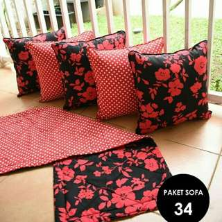 Sarung bantal sofa uk.40 (1 set/5 pcs) plus taplak 100x40 cm