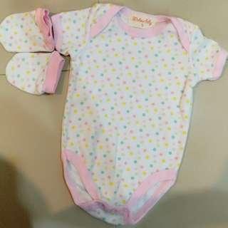 #Bajet20 Newborn Baby Romper Pink Cotton Cotton Short Sleeve