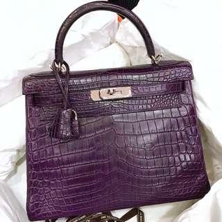 正品 98%新 Hermes Kelly 28 9G 最美紫色霧面銀扣 罕有靚色靚Size!