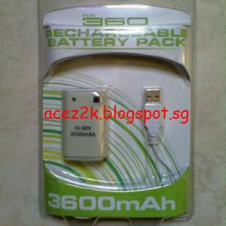 [BN] Xbox 360 3600mAh Rechargeable Battery Pack & Charging Cable (Brand New)