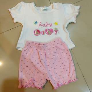 #bajet20 Baby Girl's set 2 Pcs Sets Top & Pants Kids Clothing Pink 3 Months