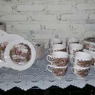 Vintage Johnson Bross Tea Sets & Cake Plate