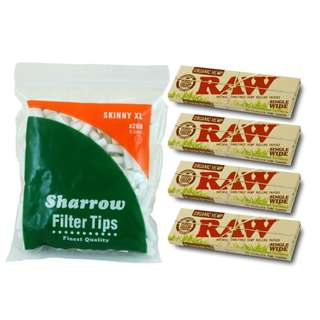 (B2)手捲煙濾咀+煙紙組合 / 1x Sharrow Skinny XL Filter Tips + 4x RAW Organic Hemp Single Wide Rolling Papers