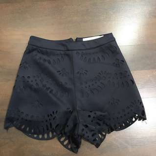 Cut out navy shorts