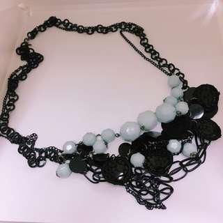 韓國淺藍色珠珠頸鏈 Korean light blue bead necklace