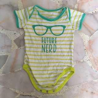 """Baby Boy """"Future Nerd"""" print Romper Onsie"""