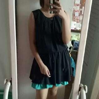 Black dress with mint details