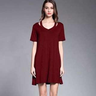 🔥Sexy Plain Shirt dress cold shoulder‼️Onhand