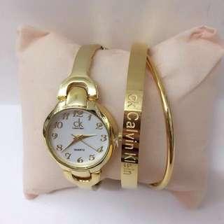 CK fashion watch & Bangles/set