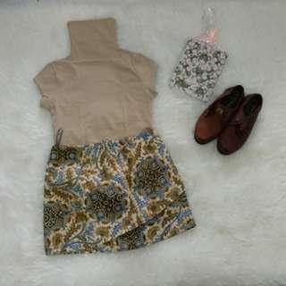1 set knit top and batik skirt