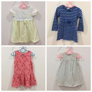 8 pcs dresses for 6-12m