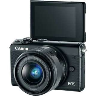 kredit Tanpa Kartu kredit Canon EOS M100 Mirrorless Digital Camera with 15-45mm Lens (Black&White&Grey)