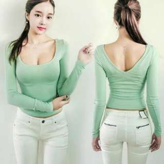 *BN* Green Fitted Long Sleeve Sexy Top