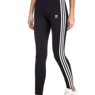ADIDAS Originals 3-Stripe Leggings Tights Black Size 10