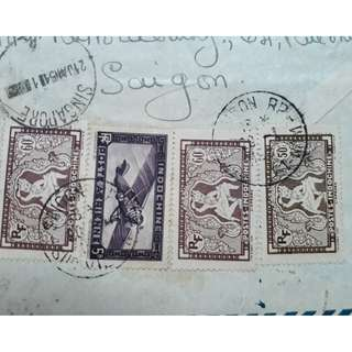 VIETNAM 1951 Postal History to SINGAPORE with many stamps