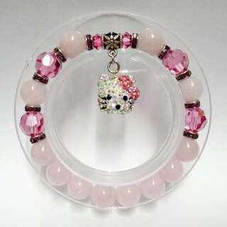 Rose Quartz Gemstones (10mm) Bracelet with Swarovski elements crystals Pink Crystals and  dangling 3D  Crystals Hello Kitty Charm