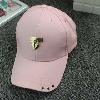 PASTEL PINK CAP WITH HEART SHAPE LOCK (READY STOCK)