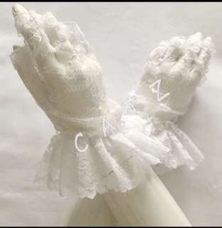 < CATZ > Lace Gloves Half Finger Lace Gloves Party Gloves