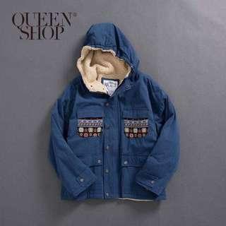 Queen shop 刷毛圖騰外套(九成五新)
