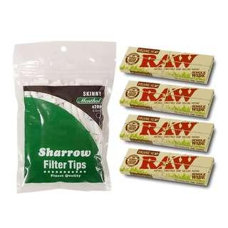 (C2)手捲煙濾咀+煙紙組合 / 1x Sharrow Skinny Menthol Filter Tips + 4x RAW Organic Hemp Single Wide Rolling Papers