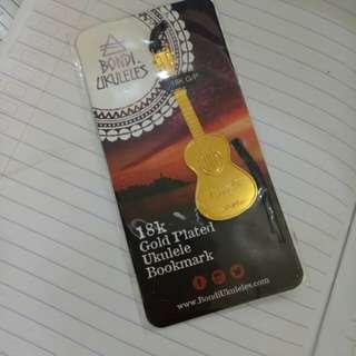 18 k gold plated ukulele bookmark ori