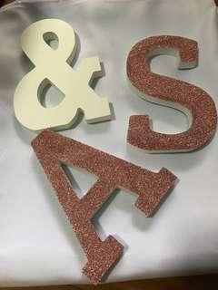 Wooden Alphabets - (letter A, &, S)