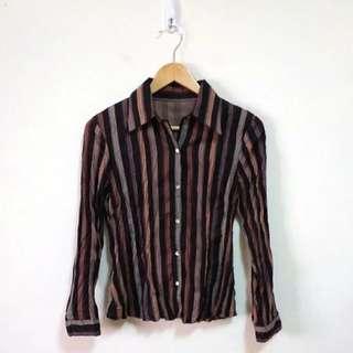 復古皺摺感直條襯衫