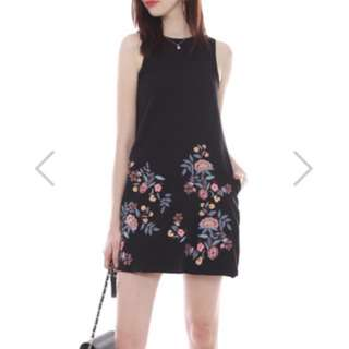 ACW Embroidery Bloom Trapeze Dress In Black