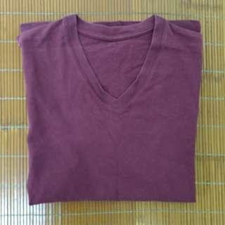 🚚 Uniqlo V領短袖上衣 酒紅色