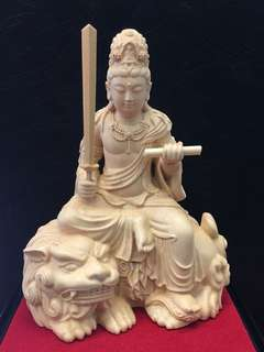 Manjushri (文殊菩萨)Box wood (黄杨木)Approximately 3.8 Inches(Height) x 3 Inches(Wide)