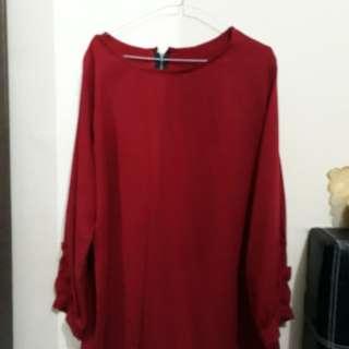 Blouse merah maroon
