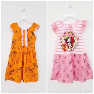 Girl Dress Orange & Pink