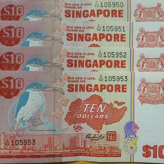 Singapore Bird Series $10 red paper money
