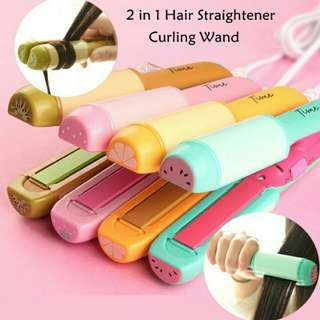 Mini fruity 2in1 hair straightener & curl iron