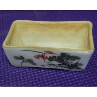 Vintage Rectangular Small Porcelain Flower Pot