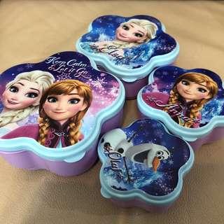 Frozen Elsa Anna 收納盒食物盒餐盒 全新四件套